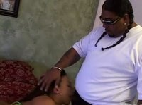 Fat black dude gets a to fuck a young pretty chick