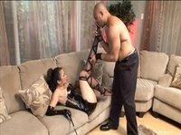 Bulky slave pleases his Asian mistress