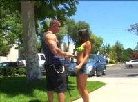 Jogging brunette meets a guy who has an offer she can't refuse