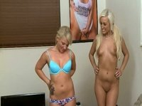 Blonde babes agree to star in this amateur movie