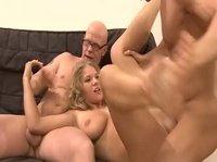 Busty blonde slut likes good company