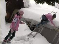 Barely legal babes in pink play in the snow