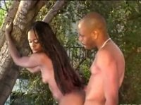 Black couple get intimate in the backyard