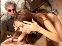 Old dude is closely monitoring a BJ making sure she does everything right