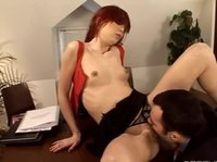 Skinny redhead really wants to have the job