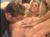 Two naked blonde babes finally distract this dude from his laptop