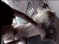 Blonde hooker picks up another client at a cafe