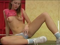 Young innocent babe learns to touch herself