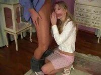 Sexy blonde milf is losing her pink underwear on a carpet