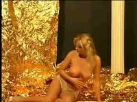 Sexy blonde strips down to her lovely lace panties