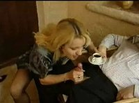 Blonde slut is making some cream for her coffee