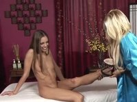 Sweet inside massage for tight lesbian butts