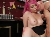 Pink-haired waitress takes hard cock in her pink asshole
