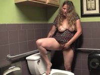 Chubby housewife is looking for privacy in the toilet