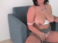 Chubby milf strips off her mommy underwear to play with her juicy cunt