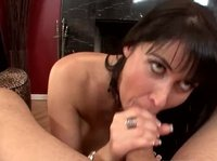 Sexy milf with amazing tits and hard nipples gives head