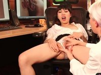 Asian chick is having her pussy examined by blonde doctor