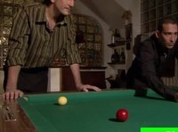 Two dudes play pool to decide who is going to drill this blonde's wet kitty