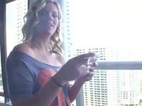 Smoke break on the balcony turns out into so much more with this hot blonde