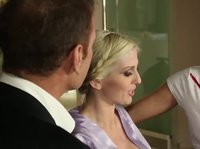 A hard working businessmen parties with two sexy blondes