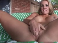 This sexy blonde was dared to use the biggest dildo she can find now watch her go!