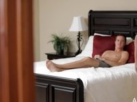 An impatient young guy is waiting for this hottie in bed