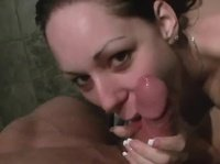 This sexy chick likes to save time: she showers and blows a dick