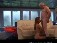 Redhead Erica is being screwed by an old fart