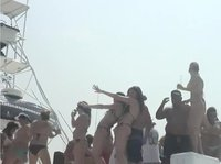 A wild party on a huge yacht