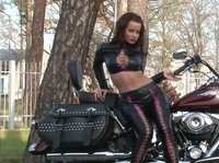 A beautiful biker that doesn't mind teasing boys a little