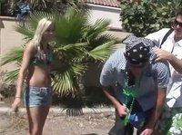 A backyard boobies party
