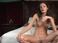 A young sexy chick lubes her hairless pussy before having some fun