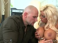 A bold dude talks a busty blonde into getting very naughty