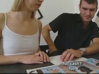 A young guy is watching his blonde girlfriend fuck their photographer