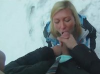 This blonde chick loves snowboarding and hard cocks