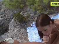 A hot picnic on the cliff: a blowjob and a cumshot on ass