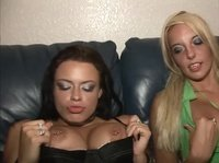Two drunk chicks are showing everything they got