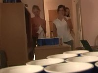 Having a beer pong game leads to undressing