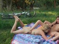 Lesbian girls are having a picnic