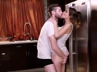 A young couple suddenly gets extremely horny in the kitchen