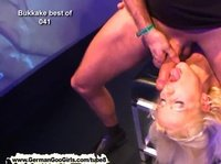 A pretty blonde comes to this party to get cum all over her face