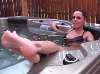 Three pleasures in one: jacuzzi, smoking, naked
