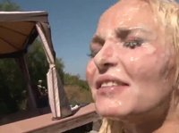 A blonde goes to an outdoor bukakke party and it gets really messy