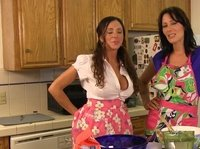 Lesbians giving cooking recipe with hot boob massage