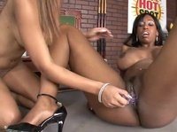 Cute ebony lesbians having some fun on the pool table