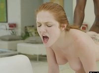 Super horny cute teen sucked and fucked by big black cock