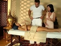 Hot threesome at massage parlor