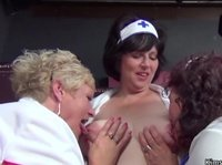 Lesbian Threesome With BBW Nurses