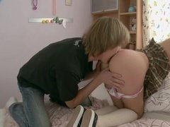 Amateur teen couple is having fun together