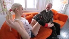 Teen is loving old dick into too deep